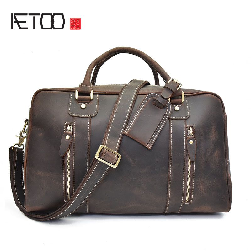 AETOO The new mad horsehide men's bags leather handbag luggage bag, European and American casual shoulder bag aetoo european goods art casual leather