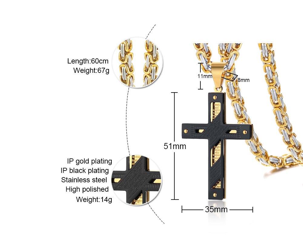 333a6cd458d7 Este elegante collar de cruz viene en un diseño moderno y elegante que  combina el símbolo de la cruz cristiana con el oración del Señor inglés.
