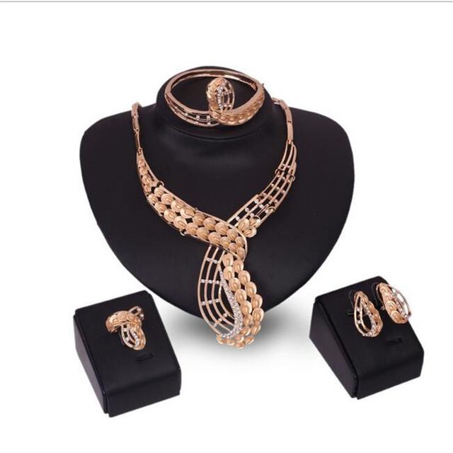 Casamento Accesorios beads africanos joyería set Collar Pendientes Pulseras Anillos conjuntos Conjuntos Elegantes Joyas de Oro S
