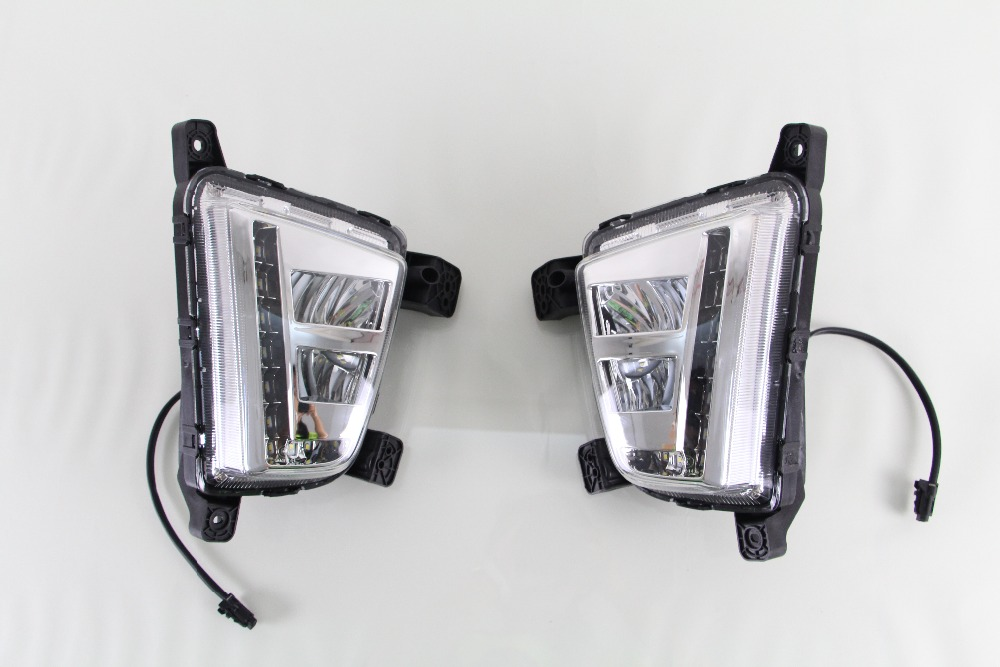 2Pcs White LED Super Bright DRL Daytime Running Light Driving Fog Lights Fog Lamps For Hyundai IX25 qvvcev 2pcs new car led fog lamps 60w 9005 hb3 auto foglight drl headlight daytime running light lamp bulb pure white dc12v
