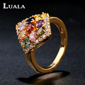 LUALA Classic New Prismatic Colorful Cubic Zirconia Ring Luxury   Gold Plated Rings For Women Jewelry Engagement Rings R0018
