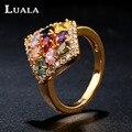 LUALA Classic New Prismatic Colorido Cúbicos de Zircônia Anel Banhado A Ouro Anéis Para As Mulheres de Jóias de Luxo Anéis de Noivado R0018
