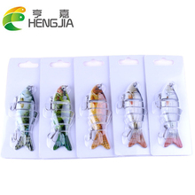 6 Sections 1pc Fishing Lures 5 Colours 10cm 20g Multi Jointed Baits With Treble Hook Blister Card Package HJ111 Free Shipping