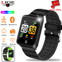 цены на LIGE Men Smart Bracelet IP67 Waterproof Wristband Bluetooth Connection Android iOS Pedometer Smart Women Sport Fitness Tracker  в интернет-магазинах