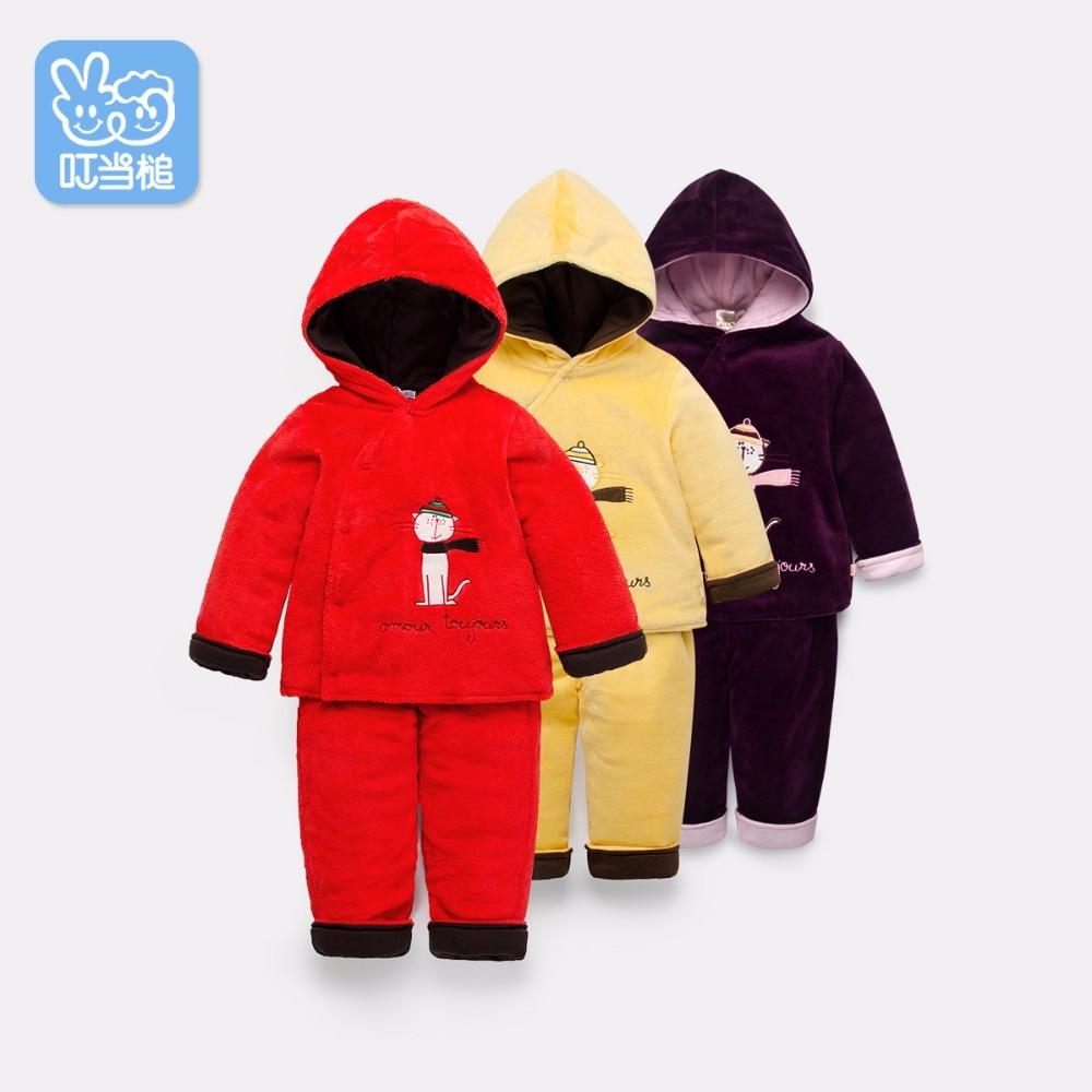 Trendy podzimní zimní dětské karikatury polstrovaný kabát + Kalhoty 2ks oblek Chlapci Dívky zahalují dětskou mikinu bavlněné Dětské outfit