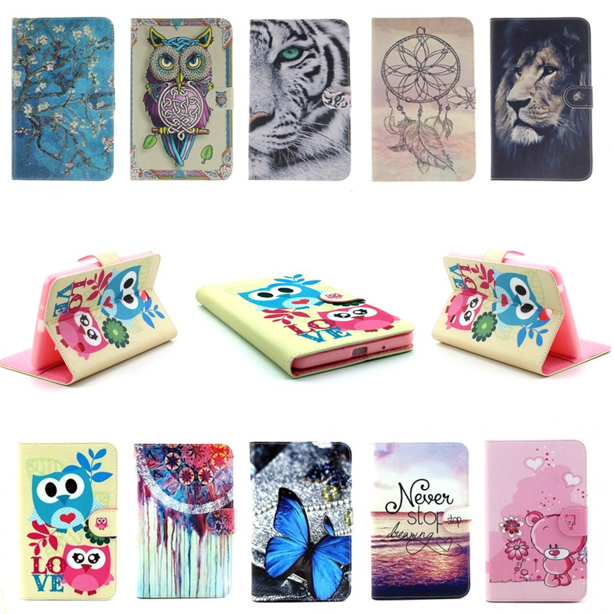 Tab4 T230 Case Owl Tiger Van Gogh Print PU Leather Stand Flip Case Cover for Samsung Galaxy Tab 4 7.0 T230 T231 T235 SM-T230