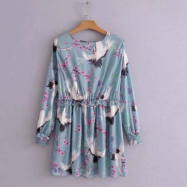 2018 Women Fashion Crane Flower Pattern Print Mini Dress Elegant