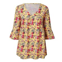 Fashion 5Xl Plus Size 2019 Summer Women Printed Blouses Loose V-Neck Flare Sleeve Casual Tops