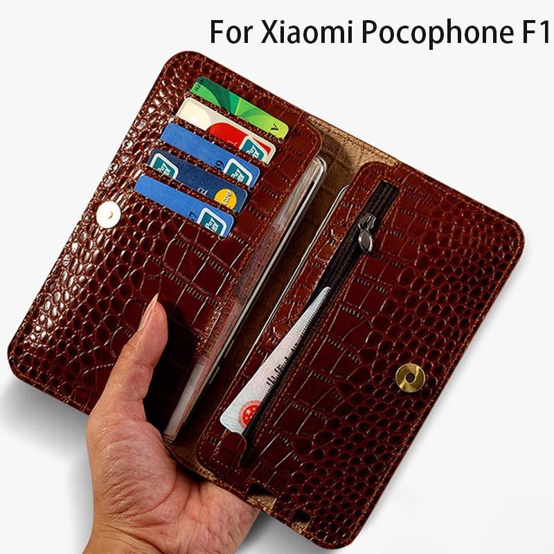 De luxe Portefeuille Cas de Téléphone Pour Xiaomi Pocophone F1 Cas Crocodile Texture Sac Pour A1 A2 Lite Max 2 3 Mix2s pour Redmi Note 5 Cas