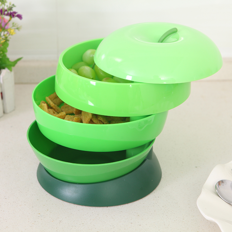 050 Fashion Removable three layer revolving candy box fruit plate 18 18 17cm in Dishes Plates from Home Garden