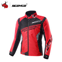 SCOYCO Motorcycle Jacket Blouson Moto Motocross Protective Clothing Motorbike Racing Jackets With Protector Gear Red Black Blue