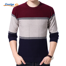 Covrlge Men Sweaters for 2017 Fashion O-neck Pullover Male Striped Slim Fit Men's Sweater Brand Clothes Long Sleeve Shirt MZL023