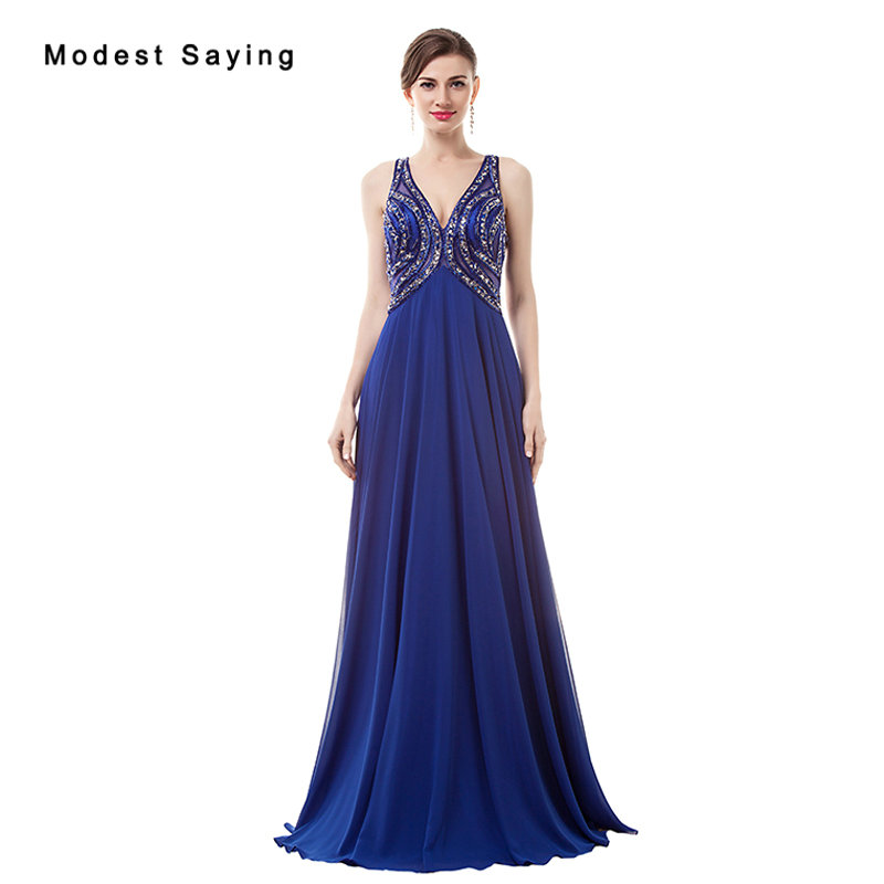 Luxury Sexy See Through Royal Blue A-Line eaded Evening Dress 2017 with Rhinestone Engagement Party Prom Gowns robe de soiree