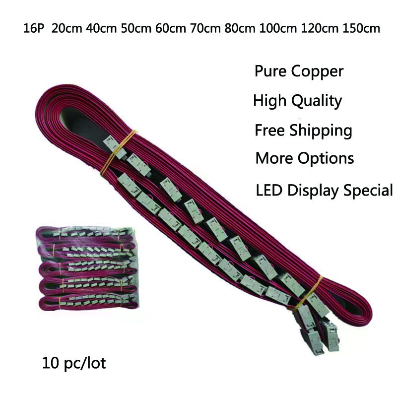 LED Display 16P 16 Pin Flat Cable 20cm 40 Cm 50cm 60cm 80cm Pure Copper Flat Ribbon Data Led Module Receiver Cable Signal Cable