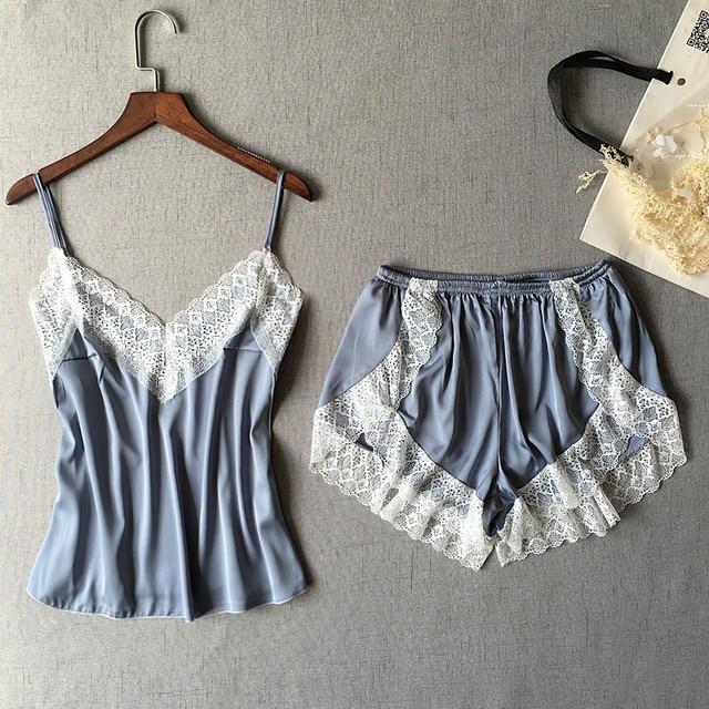 Women's Sleepwear Sexy Satin Pajama Set White Lace V-Neck Pyjamas Sleeveless Cute Cami Top and Shorts 1