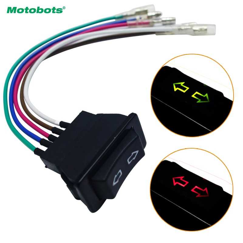 MOTOB0TS Universal 5pins Car Single Power Window Switch With Wire & Green/Red Illumination Indicator 12V/24V #HQ4538