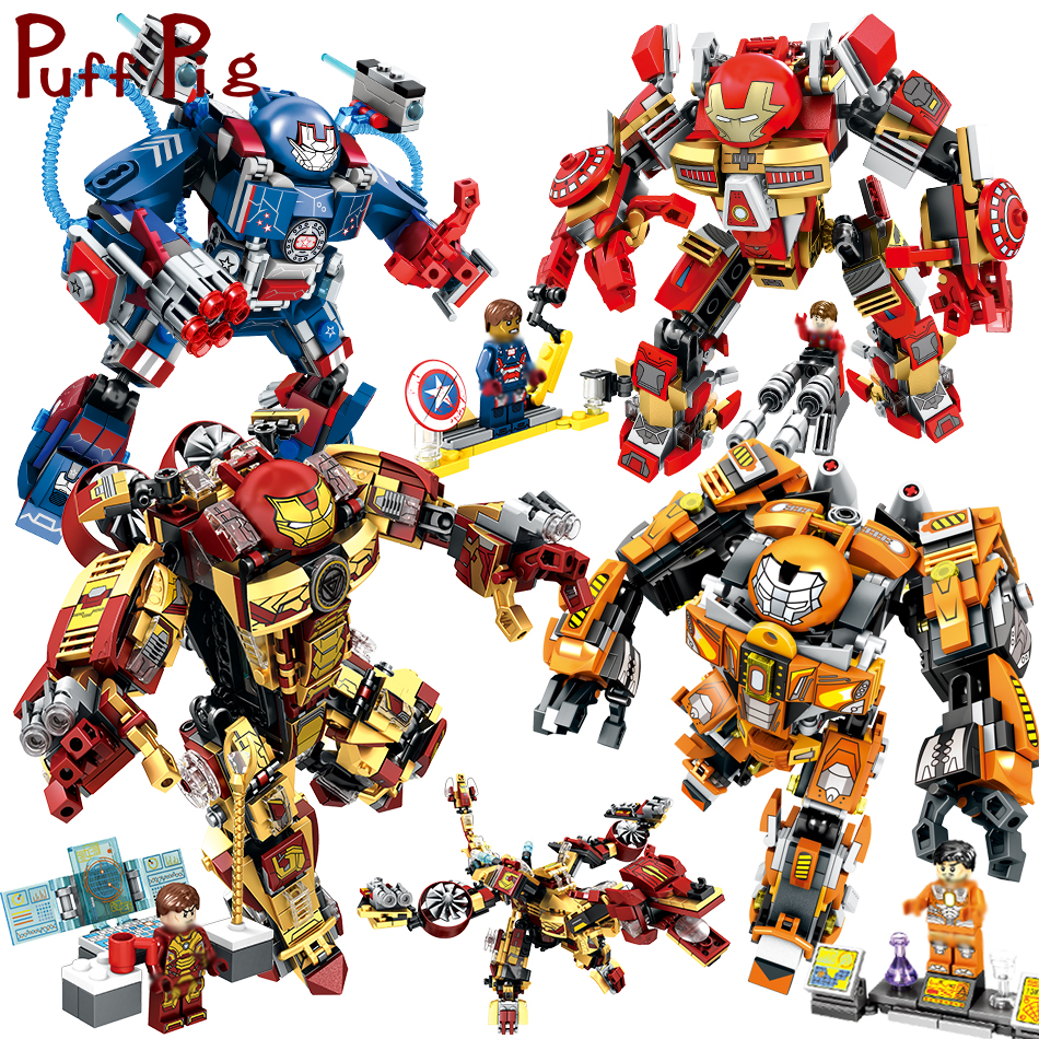 Super Heroes Avenged Iron Man Armor Warrior Building Blocks Compatible Legoe Enlighten Brinquedos Toys For Children Friends недорго, оригинальная цена