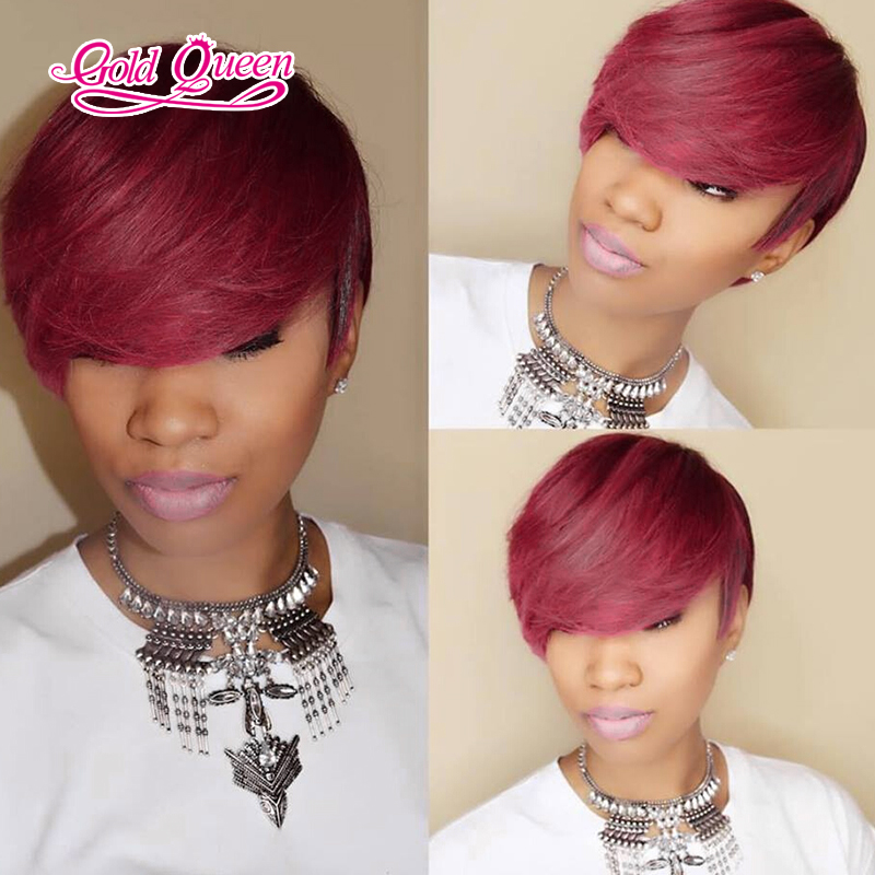 New Burgundy Gold Queens Hair Products Peruvian Virgin Lace Front Human Wigs Short Cuts Full Wig With Bangs In From