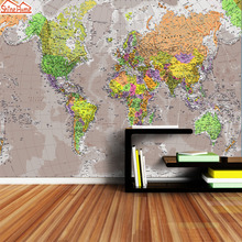Пользовательские 3d фото обои настенные бумаги домашний декор карта мира для гостиной Дети печатает обои с изображением дивана ТВ фон Искусство