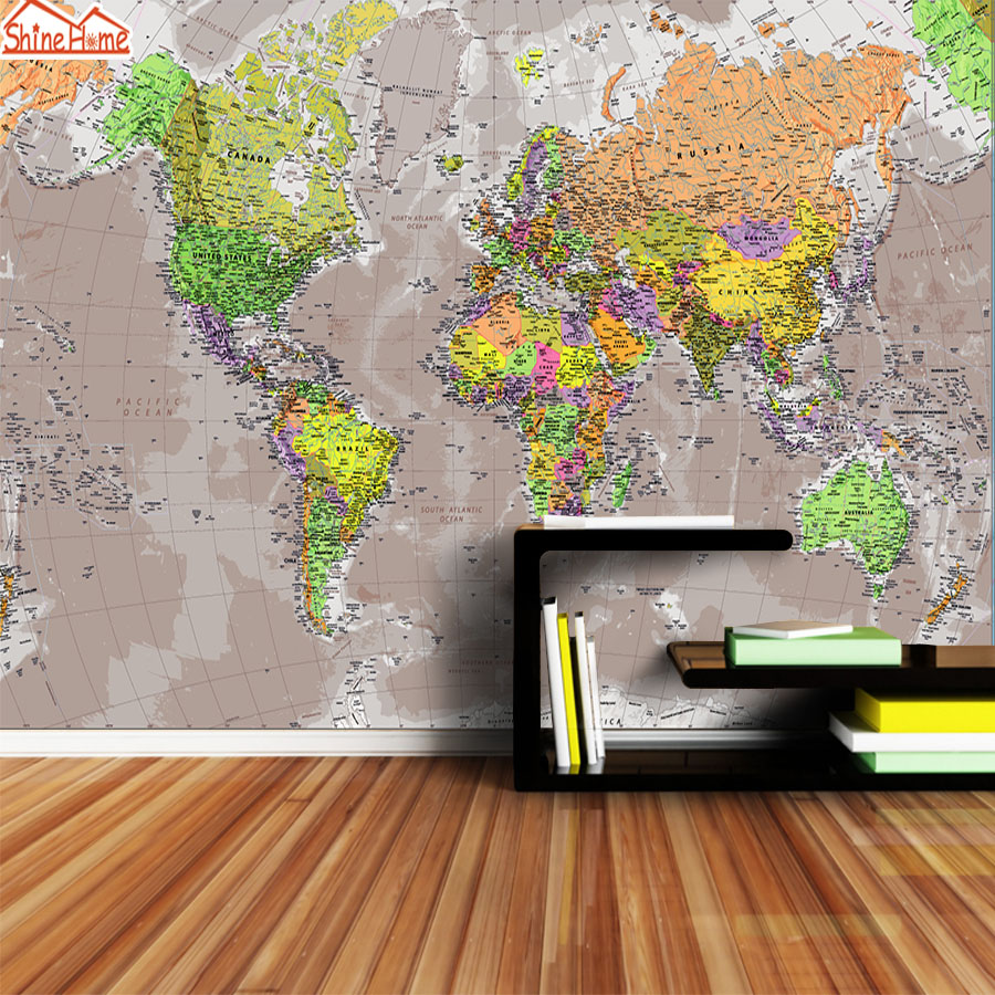 Custom 3d Photo Wallpaper Mural Wall Papers Home Decor World Map For Living Room Kids Prints Wallpapers Sofa TV Background Art