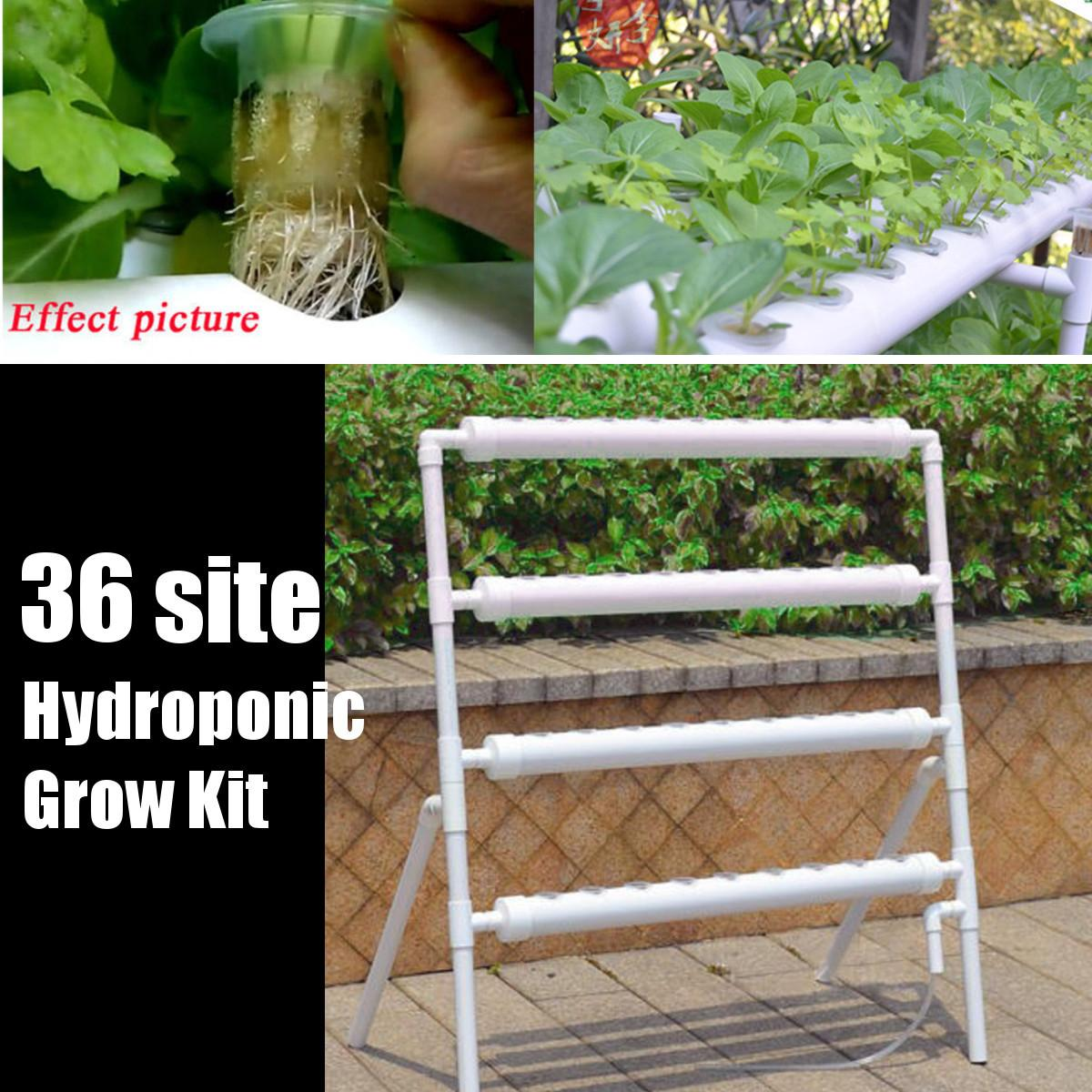 36 Holes Hydroponic Piping Site Grow Kit Deep Water Culture Planting Box Gardening System Nursery Pot Hydroponic Rack 220V