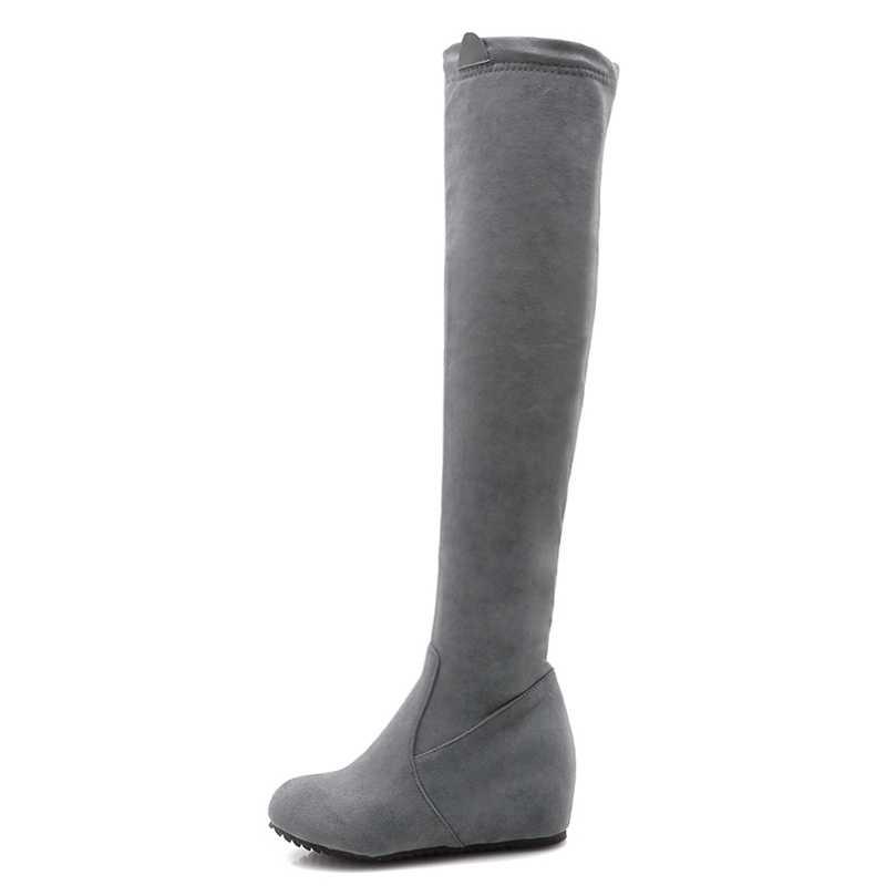 REAVE แมวรองเท้าผู้หญิงกว่าเข่ารองเท้าสุภาพสตรีรองเท้า Zapatos de mujer ซิป Flock เพิ่มสีดำสีเทาแฟชั่นฤดูใบไม้ร่วง a1464