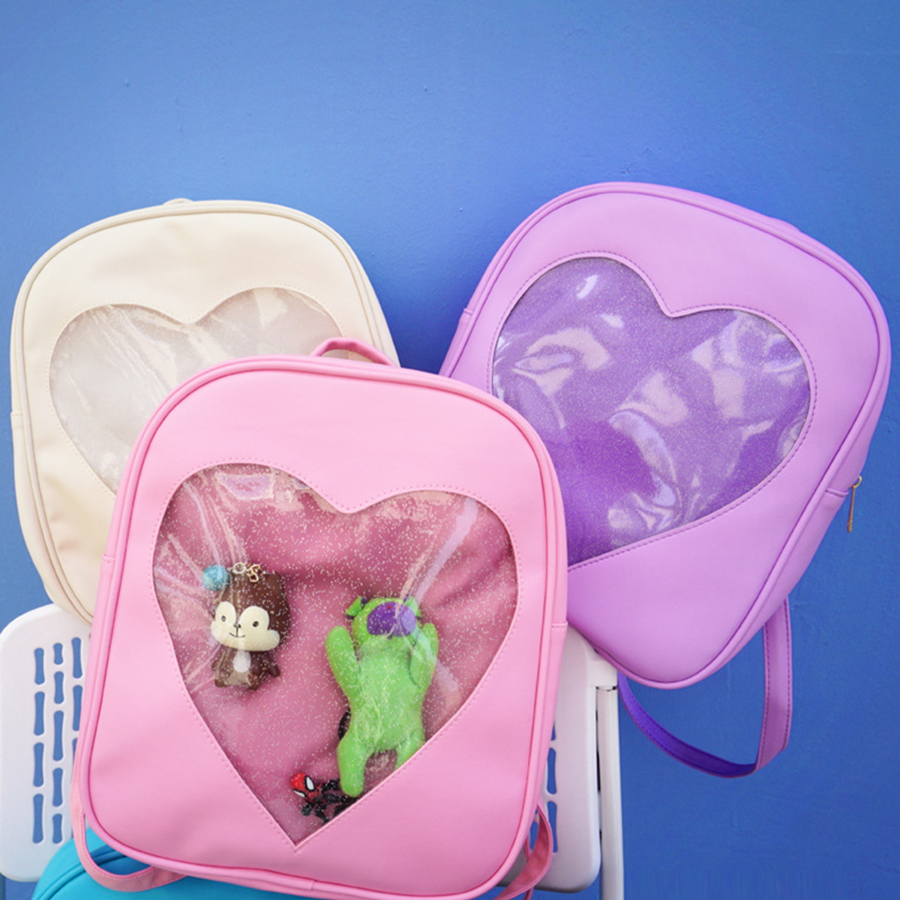Cute Heart Women Backpack Transparent Candy Jelly Student Schoolbags Fashion Ita Schoolbags For Teenage Girls Rainbow Back Pack women backpack candy color transparent bag lovely ita bag cat ear pu leather backpacks women bags for schoolbags teenage girls