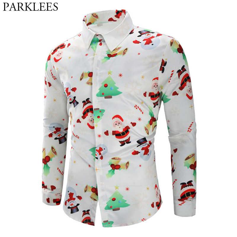 3773b9ec59b White Christmas Shirt Men 2018 Fashion Christmas Tree Santa Claus Print  Slim Fit Long Sleeve Shirt