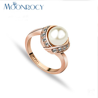 MOONROCY Drop Shipping Rose Gold Color CZ Imitation Pearl Ring Crystal Rings Jewelry Wholesale for Women ITALINA Jewelry Gift new arrival gold color ring bijoux 14mm width big pave setting cz cross x ring for women trendy crystal jewelry wholesale gift