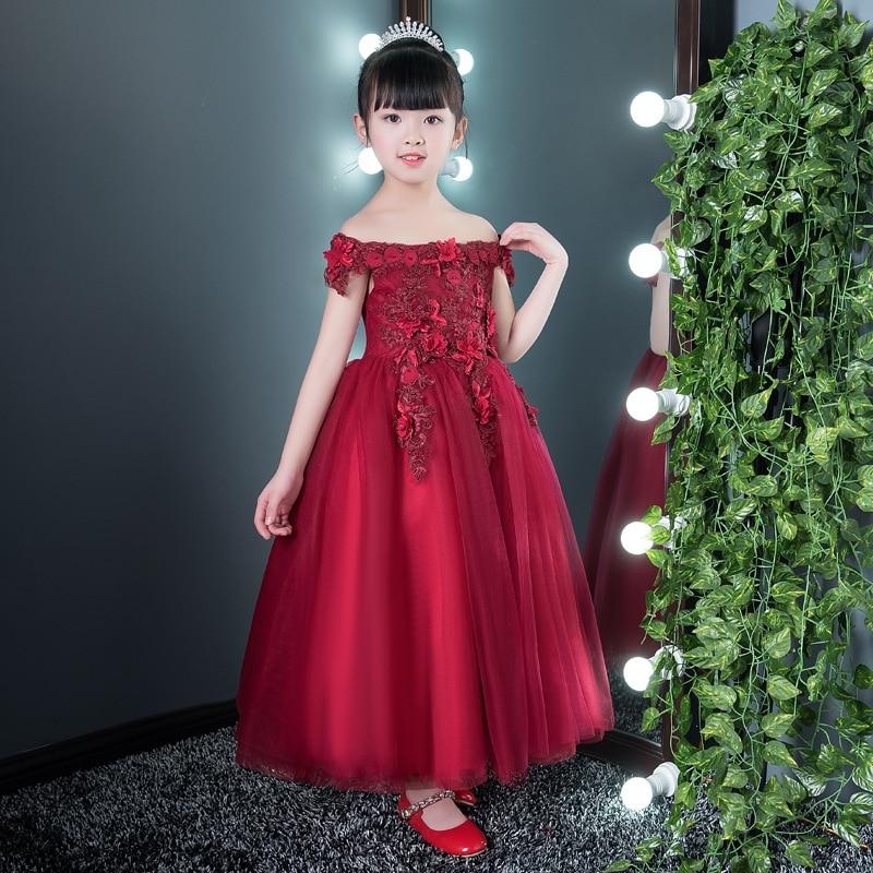 Wine Red Shoulderless Flower Girl Dresses for Wedding Appliques Long Holy Communion Dress Ball Gown Birthday