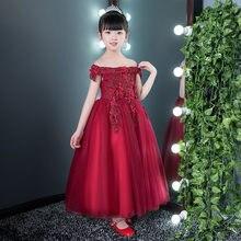 Vestidos De Niña De Las Flores De Vino Rojo A Un Precio