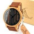 Bobo bird moda branco 2016 dos homens relógios de madeira de bordo com Madeira Relógios de Luxo Pulseira de Couro genuíno para Homens Os Melhores Presentes Item