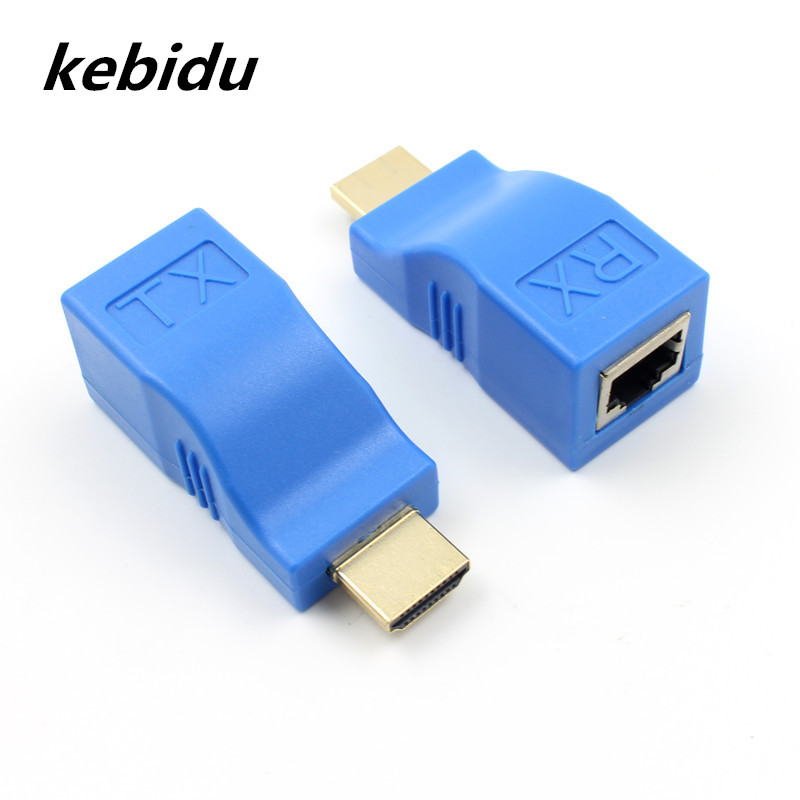 US $7 68 20% OFF|Kebidu 4k HDMI Extender Video Transmitter TX/RX HDMI 1 4  HD 1080P Over CAT6 RJ45 Ethernet Cable for TV Projector DVD Monitor PC-in