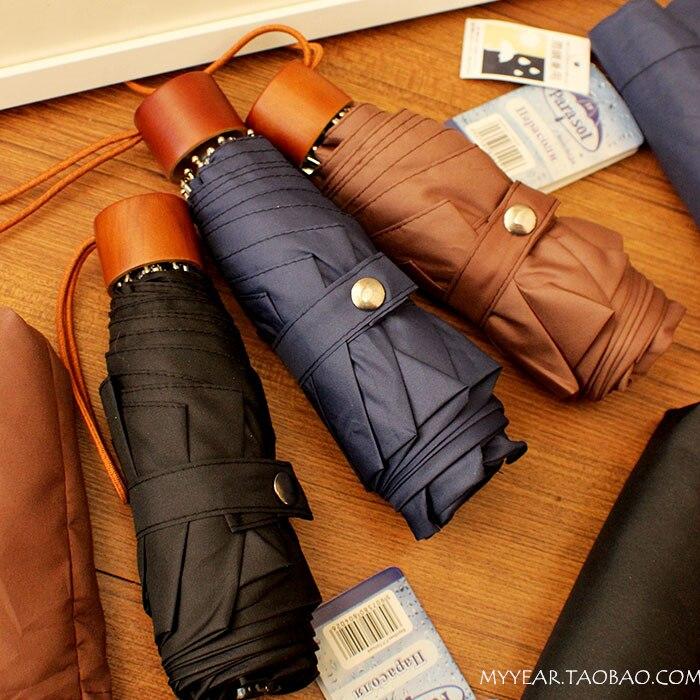 2014 five folding Umbrella vintage wooden handle anti uv sun umbrella - Sarah J's store
