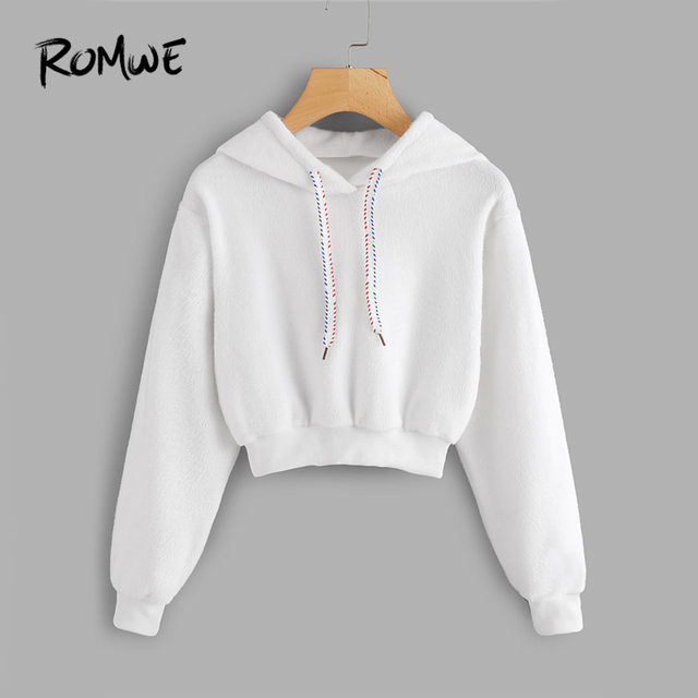 91e3b040ccdd ROMWE White Faux Fur Drawstring Crop Hoodie Female Casual Plain ...