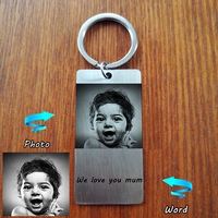 Custom Personal ID Tag Stainless Steel Key Chains Engrave Photos Letters Emergency Tag Keychains Personalized Anniversary
