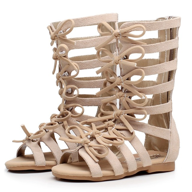92dde64fc8ec ... leather summer girls gladiator sandals boots toddler baby sandals shoes  brown black High-top fashion Roman kids sandals. Previous. Next