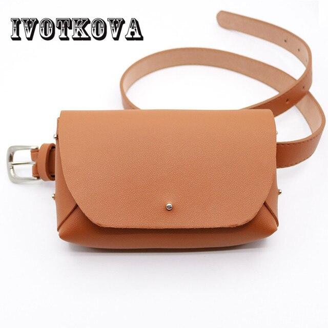IVOTKOVA Brand Girl Belt Bags Fashion Pu Leather Waist Packs Small Young Lady Phone Bags Women Trendy Purses Drop Shipping
