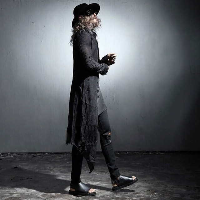 Larga de los hombres Camisa De Lino Arrugado Rebabas Para Hombre de Manga Larga moda camisa casual masculino delgado camisas negras del punk rock stage clothing