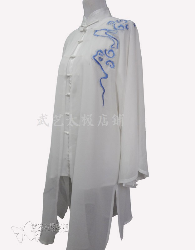 arts tai chi suit uniforms veil Martial arts performance clothing Men and women with white yarn embroidery xiangyun l