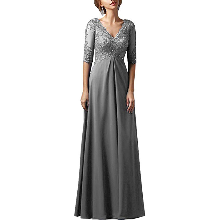 Women Chiffon With Lace Beadings V Neck Half Sleeves Mother Of Bride Dress Long Plus Size Evening Dress Vestidos Madre Novia