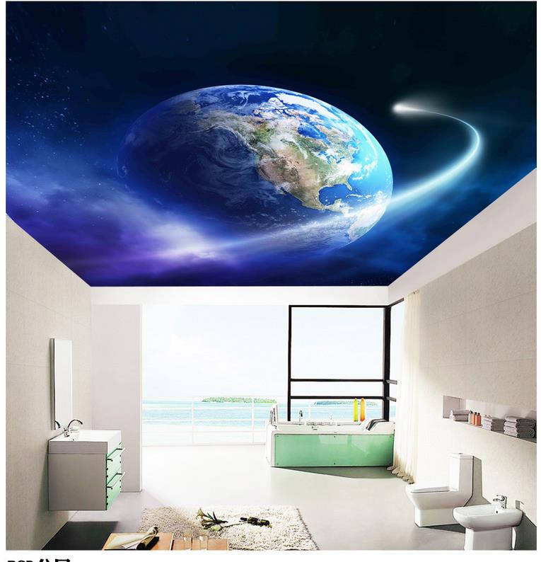 Earth 39 s living room ceiling Custom 3d mural wallpaper European style ceiling Stereoscopic wallpaper in Wallpapers from Home Improvement