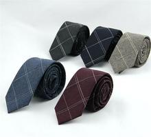 6 cm xadrez gravata dos homens laços de algodão homem verifique gravata ascot gravatas acessórios camisa do terno de negócio para homens 5 pçs/lote