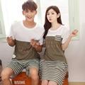 Amante pijama conjunto pijama de verano 100% ropa de dormir de los hombres y mujeres de algodón de manga corta pijama ropa de dormir home wear