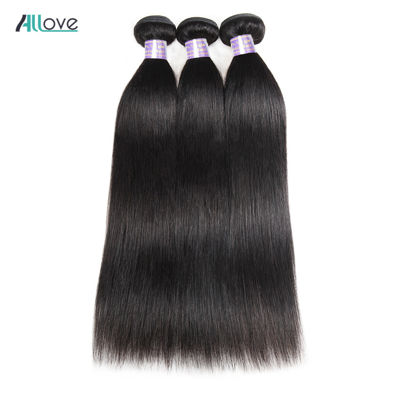 Allove Peruvian Straight Hair Bundles Human Hair Extensions Double Machine Weft Non Remy Hair Weave Bundles 8-28 Natural Color