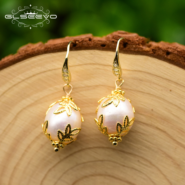 GLSEEVO 925 Sterling Silver Natural Fresh Water Baroque White Pearl Drop For Women Earrings pave Zircon Fine Jewelry GE0320