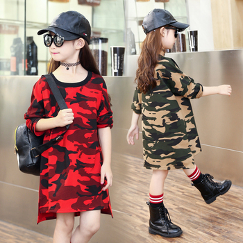 green red camouflage kids long t shirts dress girls dresses clothes teenage girl long sleeve dress children clothing 2018 spring girl
