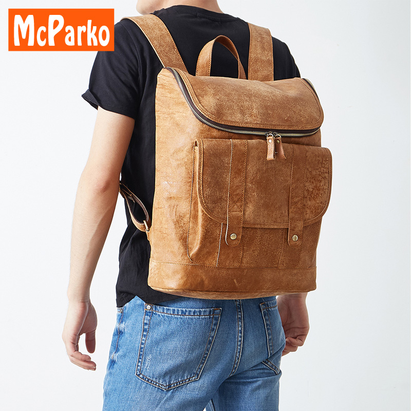 McParko vintage men Bags Genuine Leather travel backpack casual street anti theft backpack cow leather male bagpack retro brownMcParko vintage men Bags Genuine Leather travel backpack casual street anti theft backpack cow leather male bagpack retro brown