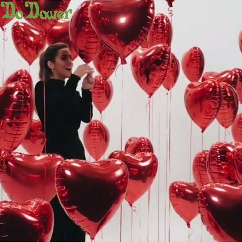 Image 2 - 50 قطعة/الوحدة الأحمر الوردي على شكل قلب بالونات أحبك بالونات نفخ كرات 18 بوصة الألومنيوم بالون الزفاف لوازم الحفلات-في بالونات وإكسسوارات من المنزل والحديقة على AliExpress