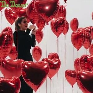 Image 2 - 50 יח\חבילה אדום ורוד בצורת לב בלוני אני אוהב אותך בלונים מתנפח כדורי 18 אינץ אלומיניום בלון חתונה ספקי צד